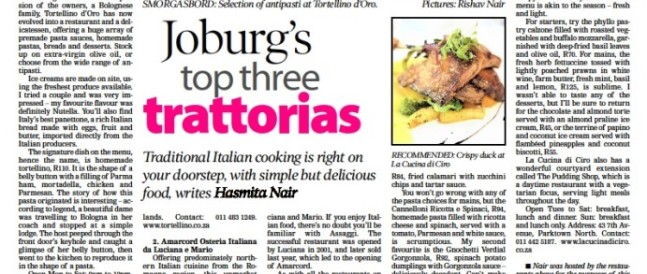 Joburgs top three trattorias