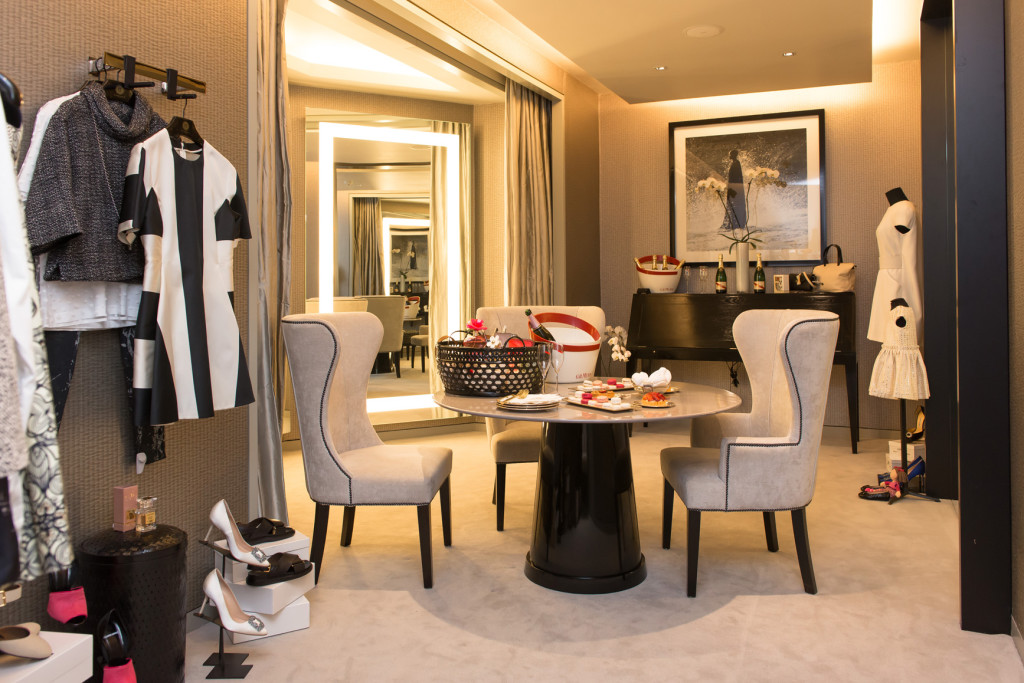 This is the personal shopping room. You phone ahead with a briefing of the occasion you're planning to attend, and this room is set up for you with various options, plus MACARONS and champagne!