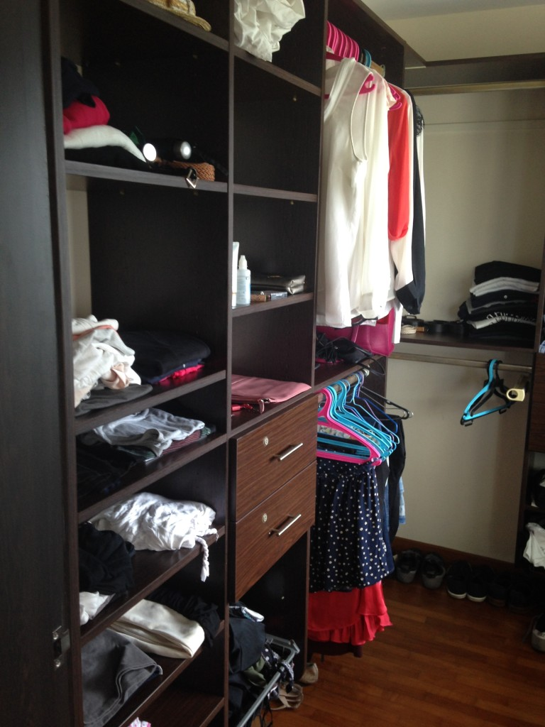 Probably the only part of the flat I actually like- this spacious walk in closet (but that's probably because I only brought a fraction of my clothing with me)