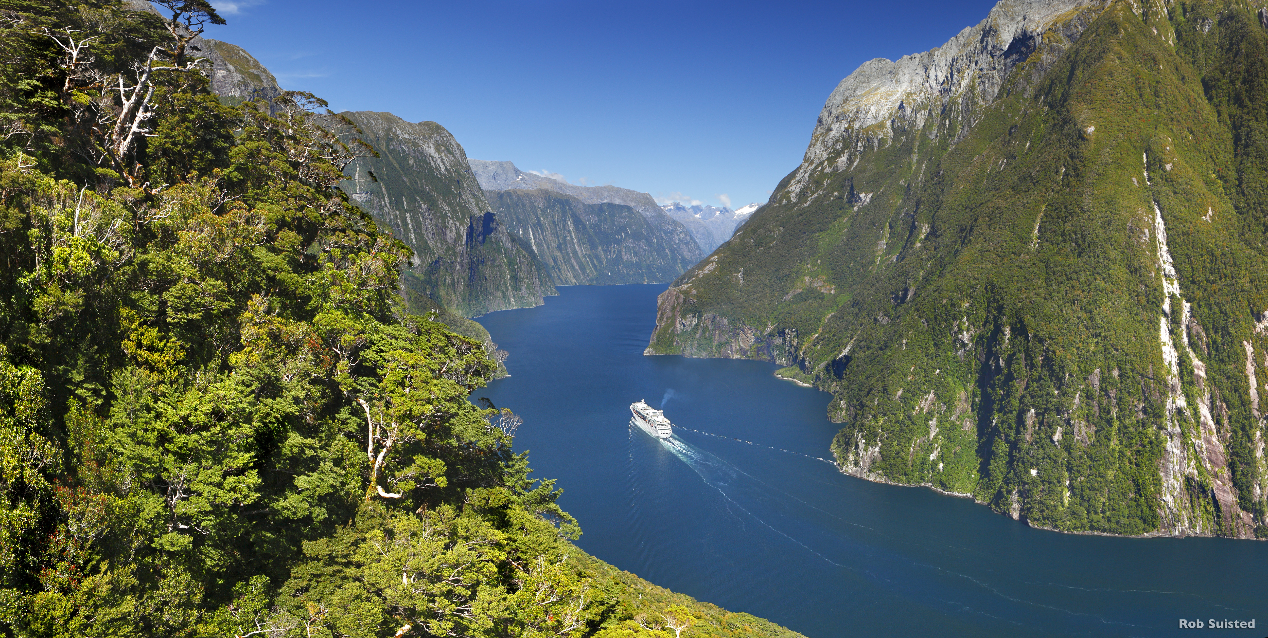 Cruise Ship In Ord Sound Fiordland National Park New Zeala