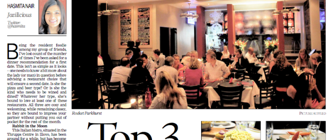 Top 3 restaurants for a first date in Jozi